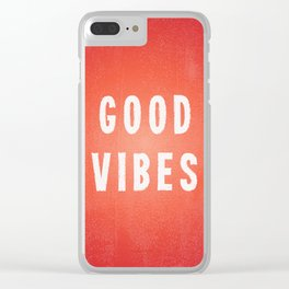 Sunset Orange/Red and White Distressed Ink Printed Good Vibes Clear iPhone Case