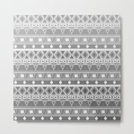 black and white pattern, geometric pattern, gradint, gray striped Metal Print
