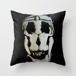 Dali Human Skull Throw Pillow