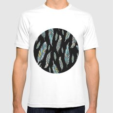 feather black Mens Fitted Tee White MEDIUM