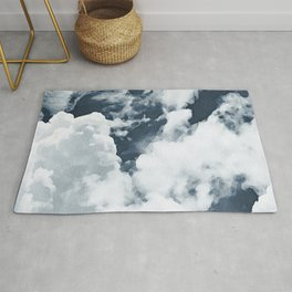 Abstract navy blue gray white watercolor hand painted clouds Rug
