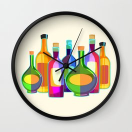 Colored Glass Bottles Wall Clock