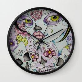 Lady Calavera - Day of the Dead Girl Pin Up Art Wall Clock