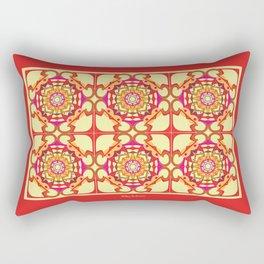World Citizen Mandala Tiled - Red Yellow Rectangular Pillow