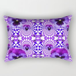 DECORATIVE OPTICAL PURPLE PANSIES GEOMETRIC ART Rectangular Pillow