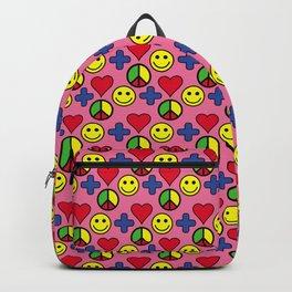 Positivity Peace Joy Happiness PINK LG Backpack