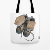 hiking Tote Bags featuring Hiking Boots by Ann Horn