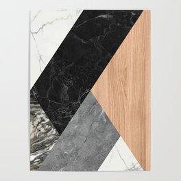 Marble and Wood Abstract Poster