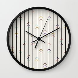 Minimal colorful arrows and black lines on neutral Wall Clock