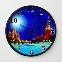 moscow Wall Clocks featuring Moscow by JT Digital Art