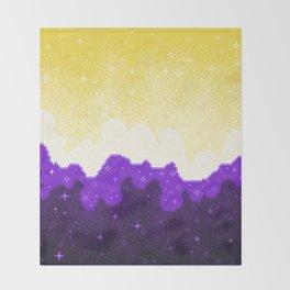 Nonbinary Pride Flag Galaxy Throw Blanket