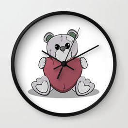 Teddy Bear And Hurt Wall Clock