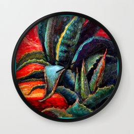 Southwest-western Style Desert Agave in Sunrise Wall Clock