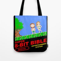 bible Tote Bags featuring 8-bit Bible by Jim Lockey