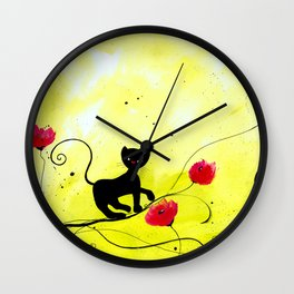 Claire and the poppies Wall Clock