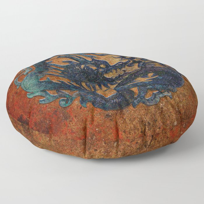 Blue Chinese Dragon on Stone Background Floor Pillow
