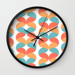 Colorful abstract round geometric rows Wall Clock