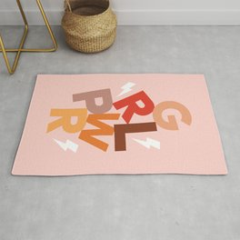 GRL PWR - GIRL POWER (Feminism typography block design) Rug