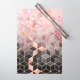 Pink And Grey Gradient Cubes Wrapping Paper