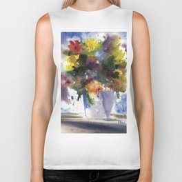 Spring Flowers in Blue Vase, original watercolor painting Biker Tank