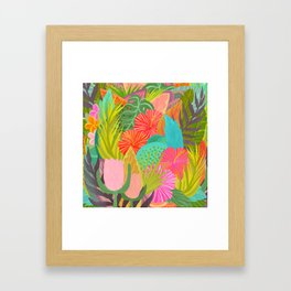 Saturated Tropical Plants and Flowers Framed Art Print