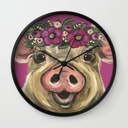 Cute colorful Pig art, Pig with Flower Crown Art Wall Clock