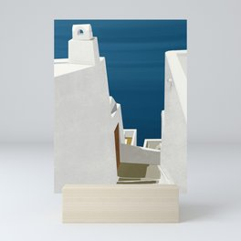 Steps to the Aegean - Santorini, Greece - Minimalist Travel Painting Mini Art Print