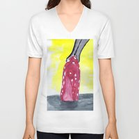 heels V-neck T-shirts featuring shoe heels by Isabel Sobregrau