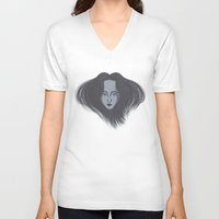 no face V-neck T-shirts featuring Face by Ariel Ni-Wei Huang