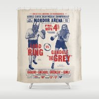 lotr Shower Curtains featuring Lord of the Ring by Vó Maria