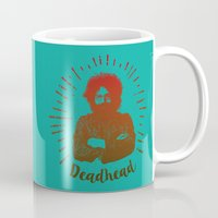 grateful dead Mugs featuring Grateful Dead, Jerry Garcia by Burnish and Press