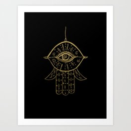 Hamsa Hand Gold on Black #1 #drawing #decor #art #society6 Art Print