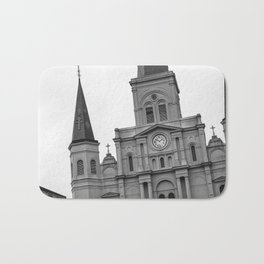 St. Louis Cathedral in Black and White Bath Mat