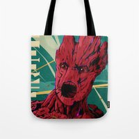 guardians of the galaxy Tote Bags featuring Groot Guardians of the galaxy by W.B.