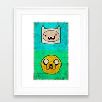 finn and jake Framed Art Prints featuring Finn & Jake by WolfFace