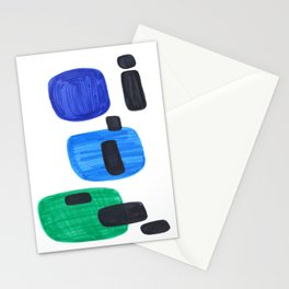 Mid Century Modern Abstract Minimalist Art Colorful Shapes Vintage Retro Style Blue Marine Green Stationery Cards