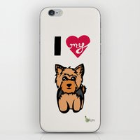 yorkie iPhone & iPod Skins featuring I Love My Yorkie by Gellygen Creative