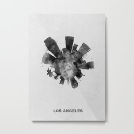 Los Angeles, California Black and White Skyround / Skyline Watercolor Painting Metal Print