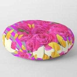 PINK GARDEN ROSES & YELLOW BUTTERFLIES MODERN ART FROM SOCIETY6   BY SHARLESART. Floor Pillow