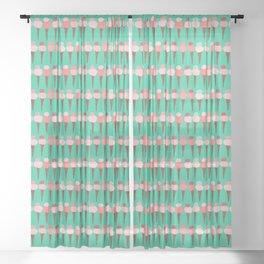 Ice Cream Hand-painted Double-Dip Waffle Cones on Mint Sheer Curtain