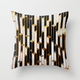 Marble Skyscrapers - Black, White and Gold Throw Pillow