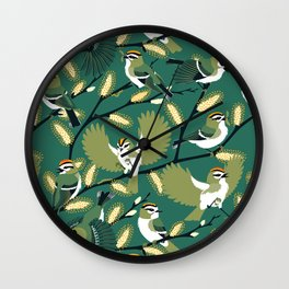 Golden-crowned Kinglets in a Pussy Willow (Greenery) Wall Clock