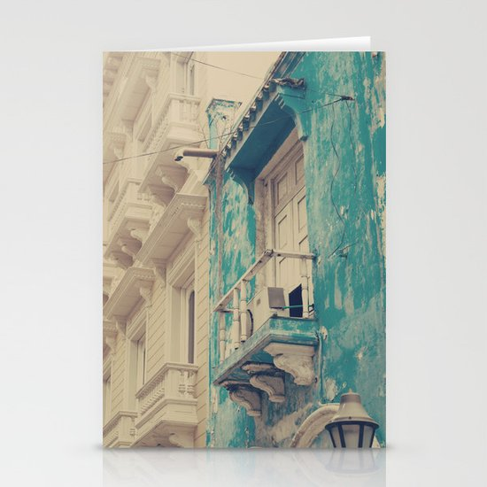 Grunge Summer Town (Retro and Vintage Urban, architecture photography, blue and cream) Stationery Cards