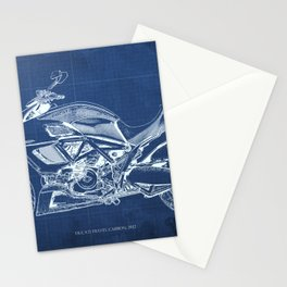 Motorcycle blueprint, Diavel CCarbon 2012, man cave decoration, white line drawing, poster for teen Stationery Cards