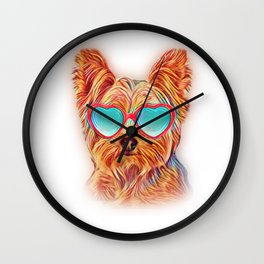 Yorkshire Terrier Colorful Yorkie Neon Dog Sunglasses Wall Clock