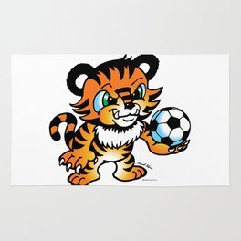 Soccer Tiger (color) square Rug