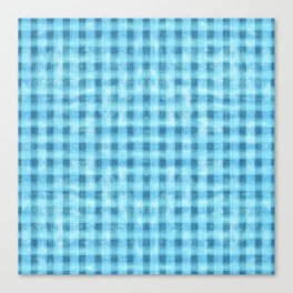 Aqua Blue Velvety Gingham Plaid Texture Canvas Print