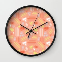 Abstract geometric shapes. Stripes rectangles dots bubbles circles orange coral white pink yellow on a peach background. Layered geometric shapes. Wall Clock
