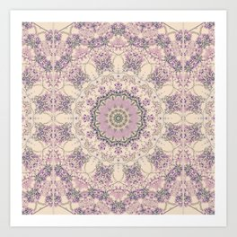 47 Wisteria Circle - Vintage Cream and Lavender Purple Mandala Art Print