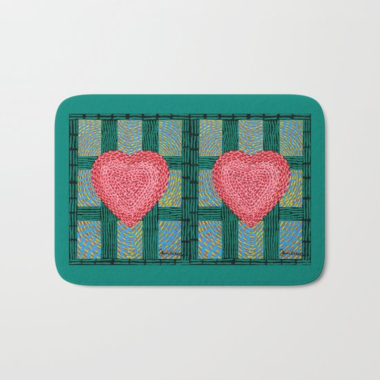 Teal and Pink Energy Heart Bath Mat